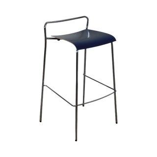 Antti Kotilainen Chrome Frame Blue Seat Piiroinen Bar Stool For Sale