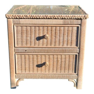 1950's Mid-Century Henry Link for Lexington White Wicker Nightstand For Sale