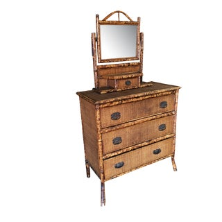 Tiger Bamboo Highboy Dresser With Vanity For Sale