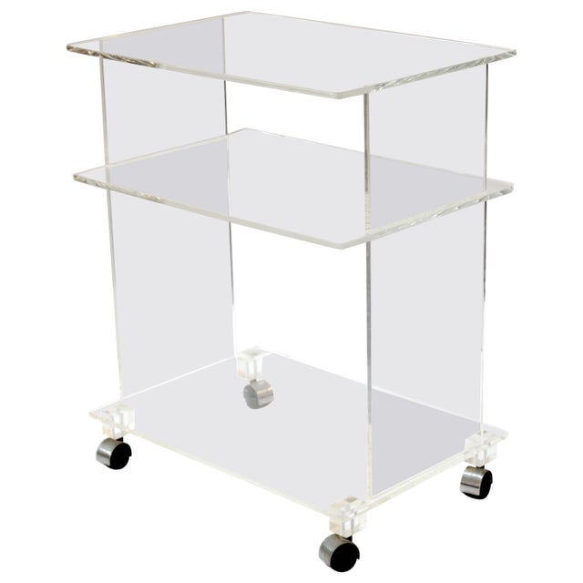 Modern Acrylic Bar Cart or Side Table on Casters For Sale - Image 9 of 9