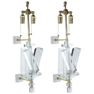 1980s Contemporary Lucite and Brass Sconces - a Pair For Sale