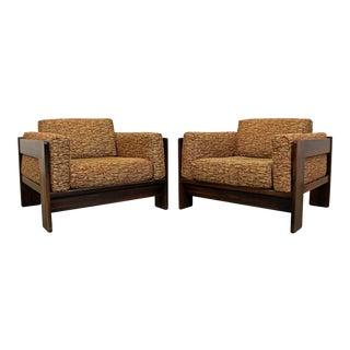 Pair of Mid-Century Modern Bastiano Tobia Scarpa Knoll Rosewood Lounge Chairs For Sale