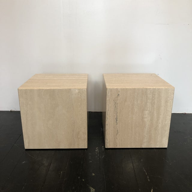 Mid-Century Modern Italian Marble Cube Side Tables - a Pair For Sale - Image 3 of 8