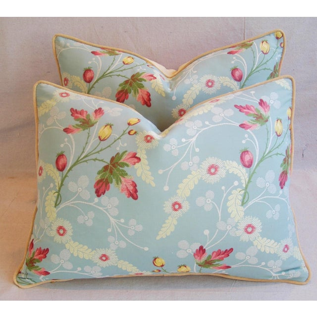 Powder Blue Scalamandré Floral Brocade Pillows - A Pair - Image 8 of 11