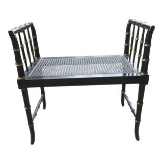 1950's Black and Gold Caned Bamboo Bench For Sale