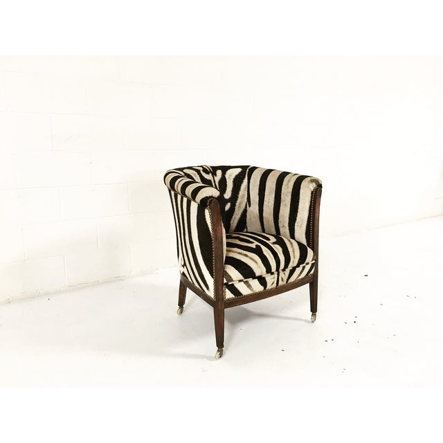 Vintage 1930s Barrel Chair in Zebra Hide - Image 4 of 11