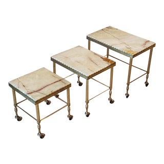 French Neoclassical Marble & Brass Rolling Nesting Tables - Set of 3 For Sale