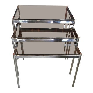 Mid Century Modern Nesting Tables Chrome Glass For Sale