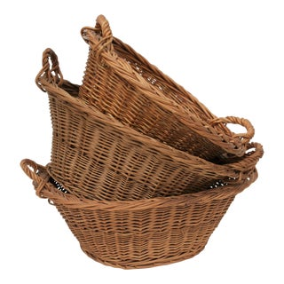 Vintage Willow Baskets - Set of 3 For Sale