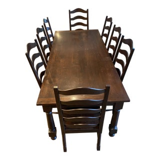 Farm Table & Chairs - Set of 9 For Sale