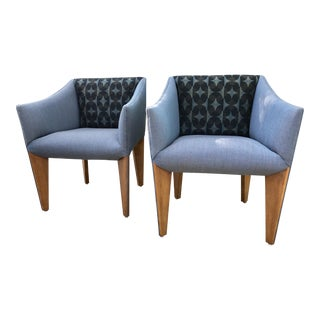 "Mid-Century Modern ""Fin Leg"" Lounge Chairs - A Pair For Sale"