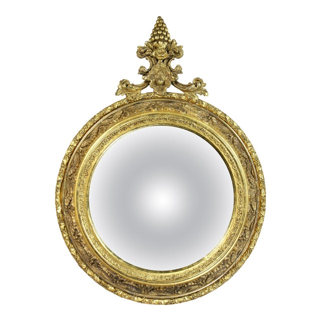 Victorian Giltwood Convex Mirror For Sale