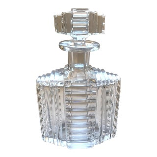 Vintage Hand Cut Art Deco Crystal Decanter For Sale