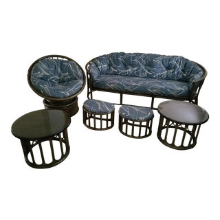 McGuire Style Crescent Sofa Table Rattan Bamboo Patio Papasan Set - 6 Pcs Last Markdown For Sale