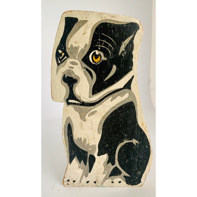 Circa 1900's Vintage Folk Art Hand Painted French Bulldog Statuette For Sale - Image 9 of 11