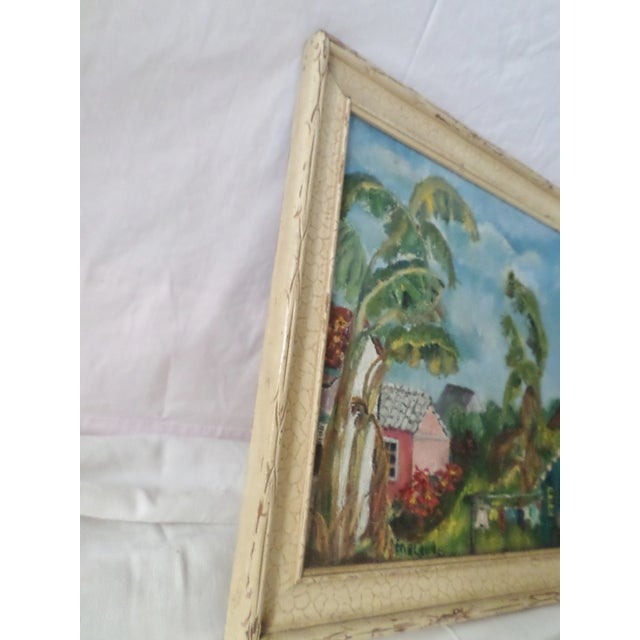 1950s Mid-Century Island Scene Oil Painting For Sale - Image 5 of 12