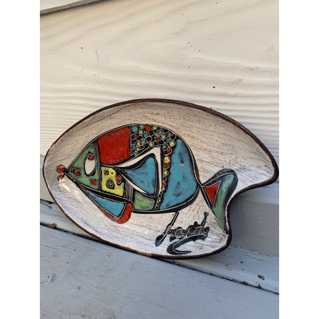Leather Leather Wrapped Ceramic Hand-Painted Tray in the Style of Marcello Fantoni For Sale - Image 7 of 8