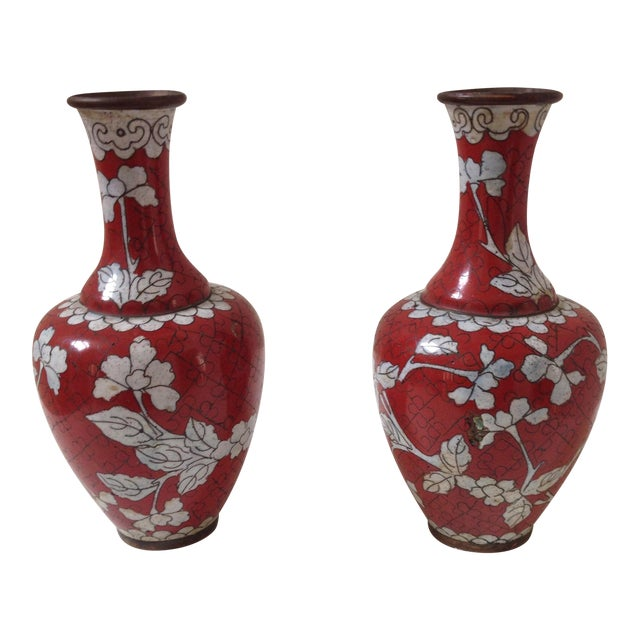 Red Cloisonne Vases - Pair - Image 1 of 11