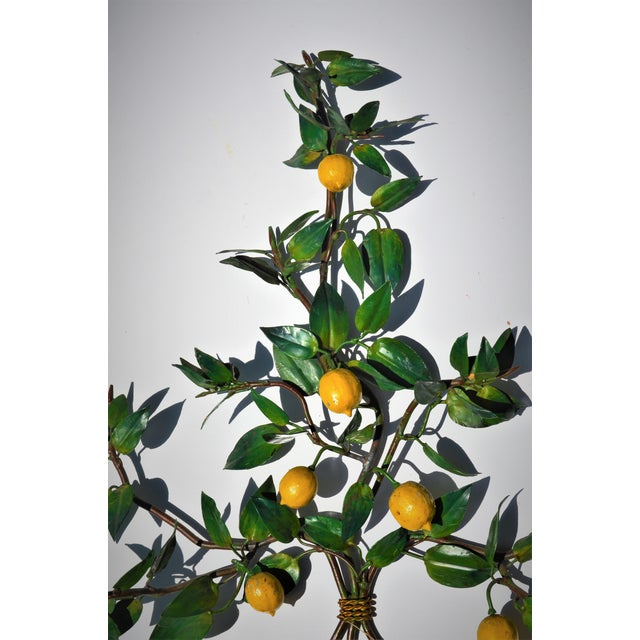 Turquoise Vintage Italian Tole Lemon Tree Wall Sconce With Planter For Sale - Image 8 of 10