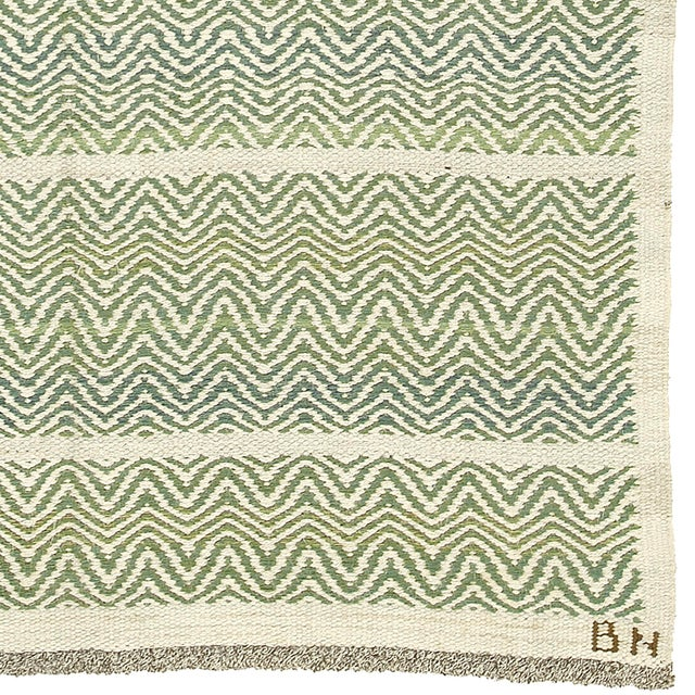 FJ Hakimian Swedish Flat Weave Rug by AB Märta Måås-Fjetterström- 4′2″ × 6′1″ For Sale - Image 4 of 6