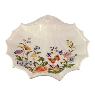 Vintage Butterfly Aynsley Bone China Shell Shaped Dish For Sale