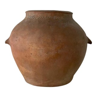 18th Century Handmade Terracotta Olive Jar, Vase With Two Handles, Spain For Sale