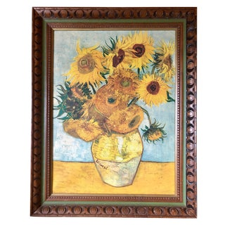 Vintage Van Gogh Sunflowers Print on Canvas in Carved Frame For Sale