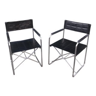 Pair of Uchida X Folding Chairs 1970s Japanese Design For Sale