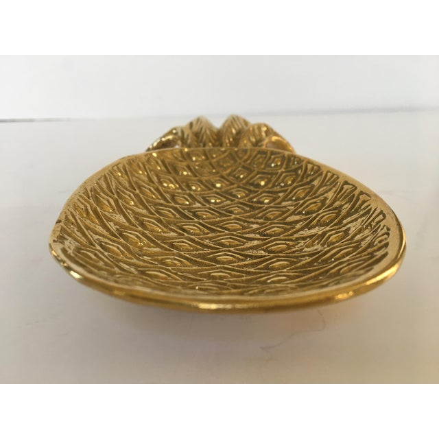 Vintage Palm Beach Style Solid Brass Footed Pineapple Shaped Tray/Catchall For Sale - Image 10 of 12