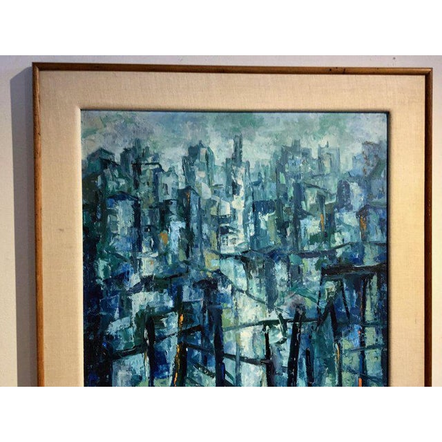 Mid Century Modern Abstract Painting Original Frame And Linen Mat