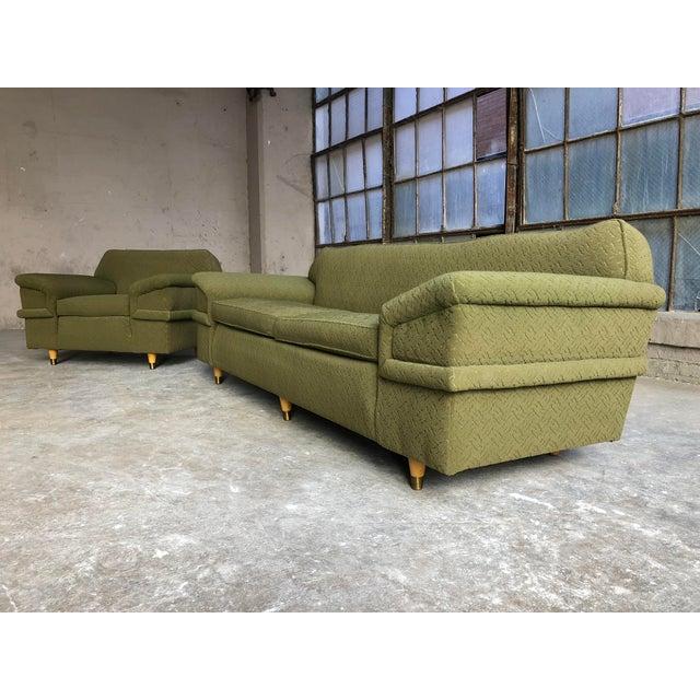 Kroehler Mid Century Modern Winged Green Sofa & Chair Set | Chairish