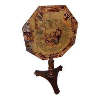 Baker Furniture Co. Decoupage Tilt Top Octagon Table