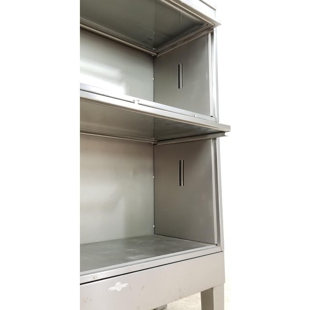 Silver Mid Century Industrial Lawyer Bookcase For Sale - Image 8 of 13
