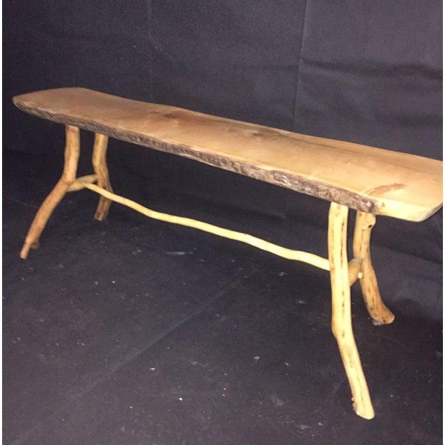 Handmade Rustic Natural Pine Bench - Image 3 of 7