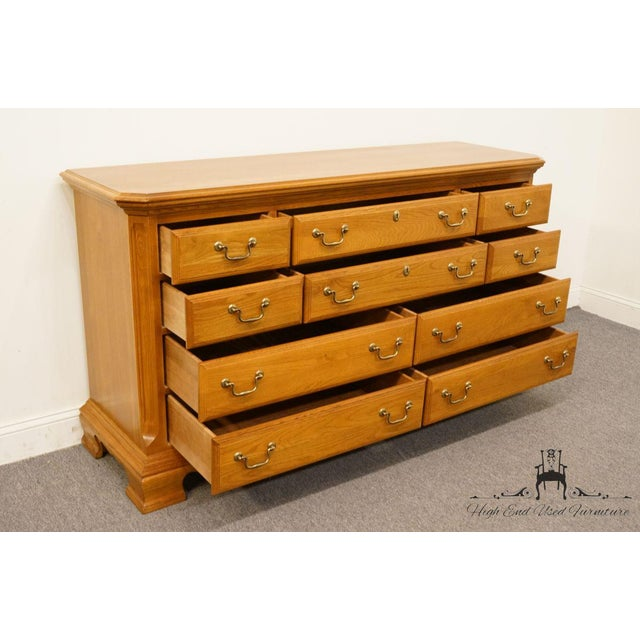 "Wood Sumter Cabinet Co. Solid Oak Country French 64"" Double Dresser For Sale - Image 7 of 13"