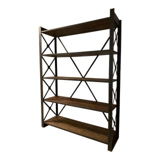 Mid 20th Century Daddies Antiqus Iron + Wood Shelving Unit For Sale