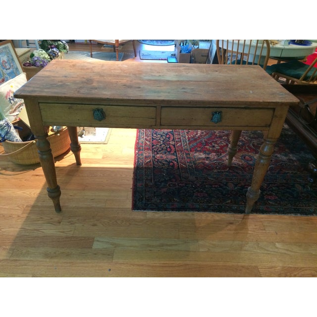 Antique Rustic Pine Console Table - Image 2 of 9