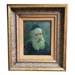 Vintage Oil Portrait of a Rabbi C.1920s For Sale