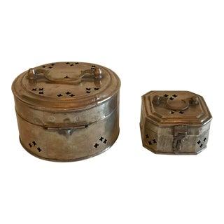 Vintage Brass Trinket Boxes - Set of 2 For Sale
