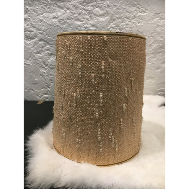 Vintage Beige Tall Round Drum Lamp Shade For Sale - Image 4 of 5