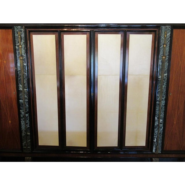 Italian Modern Palisander and Marble Bookcase, Attributed to Paolo Buffa For Sale - Image 4 of 9