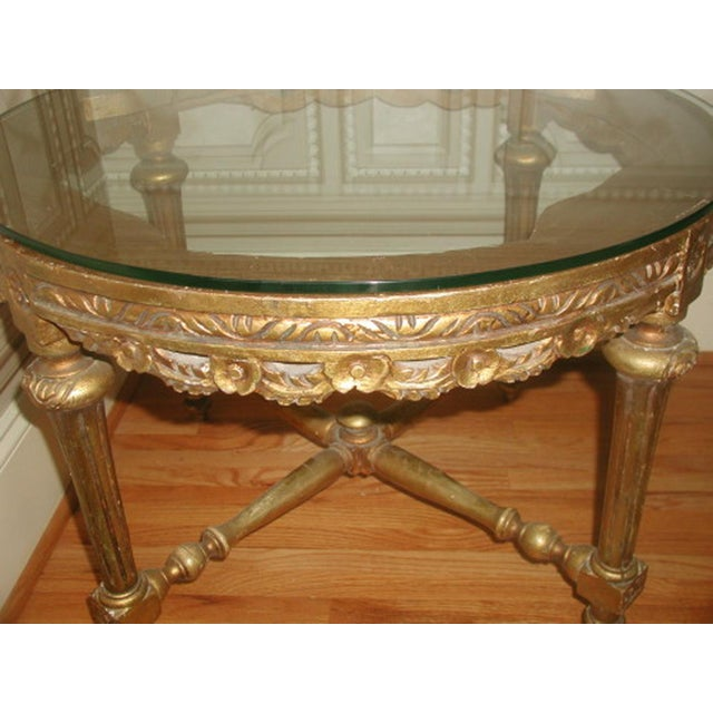 French 19th C. Hand Carved Gilt Coffee Table - Image 8 of 10