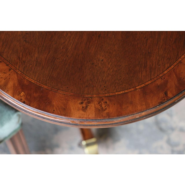 Wood Drexel Heritage Banded Mahogany Double Pedestal Extension Dining Table With Eight Chairs For Sale - Image 7 of 13
