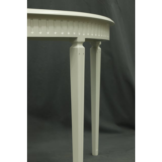 Matte White Finish3 Legged Semi-Circle Console Table With Tapered Legs For Sale - Image 4 of 6