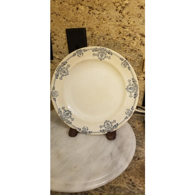 """Ceramic 19th Century Staffordshire Blue and White English Allerton """"Cairo"""" Dishes - Set of 8 For Sale - Image 7 of 8"""