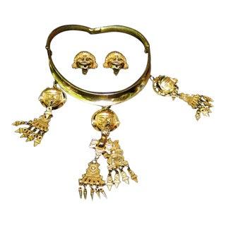 1970s Judith Leiber Massive Etruscan Gilt Tribal Choker & Earrings For Sale