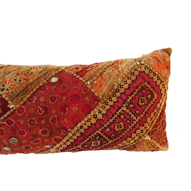 Cotton Indian Custom Made Patchwork Long Pillow For Sale - Image 7 of 8