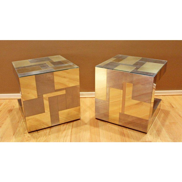 Modern Pair of Paul Evans by Brass Chrome Cityscape Nightstands Side End Tables For Sale In Detroit - Image 6 of 9
