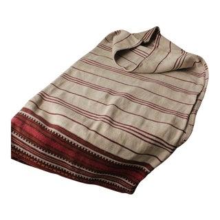 Antique Pillow Folk Art Hand-Woven Red & Black Stripes Textile For Sale
