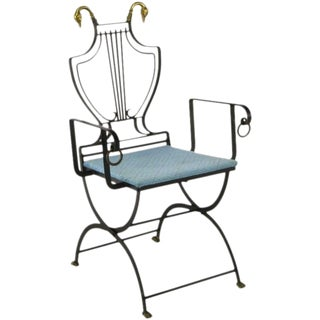 Lyre Back Black Wrought Iron Arm Chair With Swan Heads & Feet For Sale